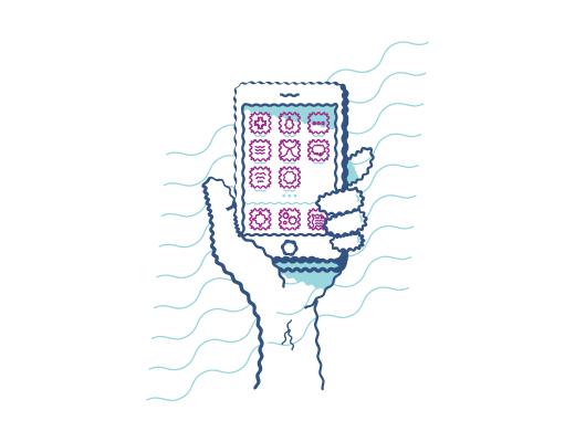 Beispiel für die verschwommene Sicht auf ein Mobiltelefon bei einer Hornhautverkrümmung.