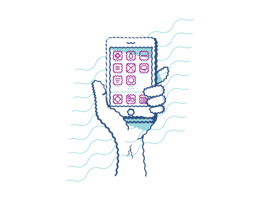 Video einer Hand, die ein Smartphone halt, das sein verschwommenes Display hat.
