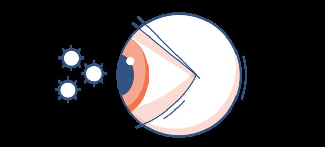 Illustration d'un œil avec du pollen dans l'air