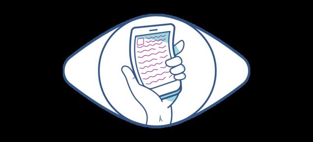 Illustration eines verzerrten Smartphones