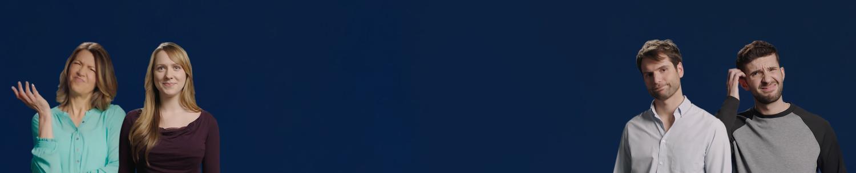 Ein blauer Hintergrund mit einer Auswahl von Personen, die verwirrt oder besorgt über das Ausprobieren von Kontaktlinsen sind.